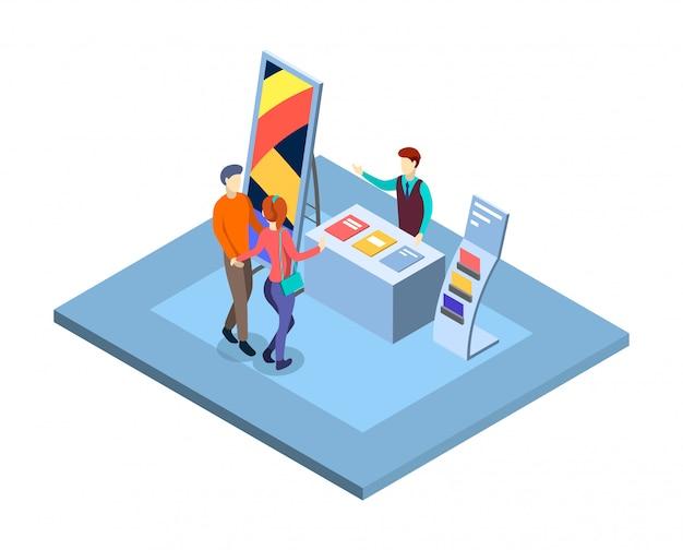 Ilustracja izometryczny targów. odwiedzający stoisko promocyjne ze sprzedawcami, postaciami menedżerów. handlowej wystawy odosobniony 3d wnętrze. prezentacja targów handlowych