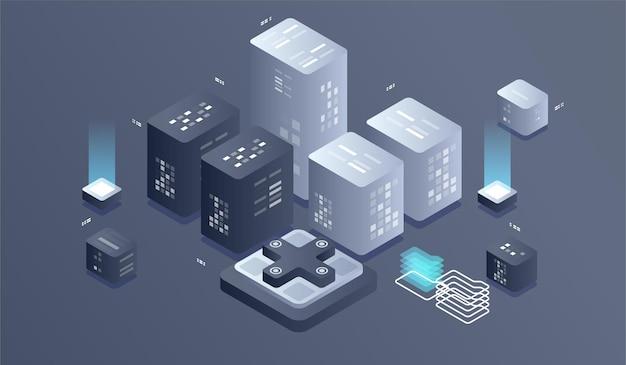 Ilustracja izometryczny technologii cyfrowej. algorytmy uczenia maszynowego big data.