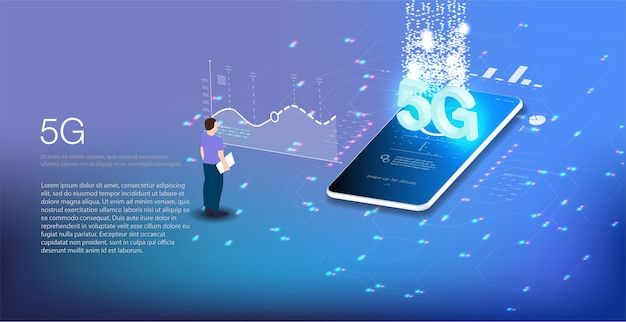 Ilustracja izometryczny telefon komórkowy