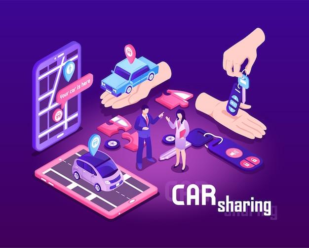 Ilustracja izometryczny udostępnianie samochodu