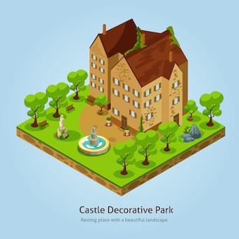 Ilustracja izometryczny zamek krajobraz