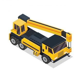 Ilustracja izometryczny żurawia ciężarówki