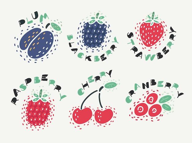 Ilustracja jagody zestaw z wiśni, maliny, truskawki, śliwki, jeżyny, maliny, żurawiny na izolowanym bakcground z napisem nazwa.