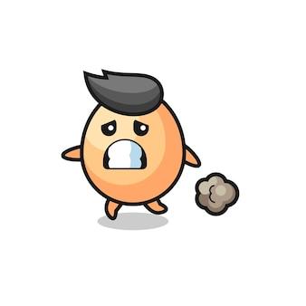 Ilustracja jajka biegnącego w strachu, ładny styl na koszulkę, naklejkę, element logo