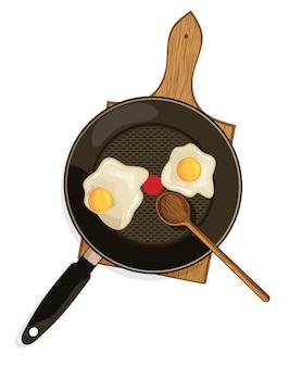 Ilustracja jajka w koszulce na patelni
