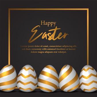 Ilustracja jajko wielkanocne z złoty kolor dekoracji