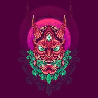 Ilustracja japońska maska hannya