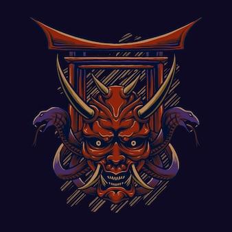 Ilustracja japoński duch potwora