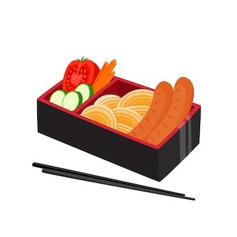 Ilustracja japońskiego bento box na białym tle, tradycyjne azjatyckie jedzenie z makaronem, kiełbasą, ogórkiem, pomidorem, marchewką używaną do magazynu, tekstylia kuchenne, okładka menu, strony internetowe.