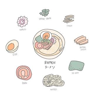 Ilustracja japońskiego jedzenia, ramen
