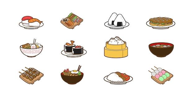 Ilustracja japońskiego projektu kreskówki żywności