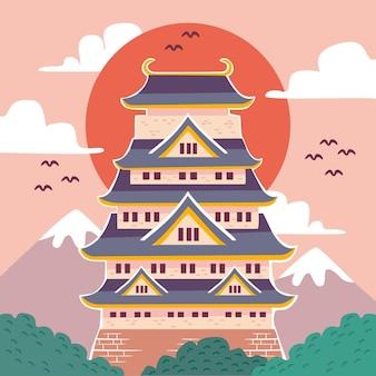 Ilustracja japońskiego zamku