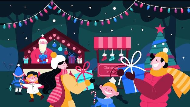 Ilustracja jarmark bożonarodzeniowy. ludzie kupujący prezenty, dzieci cieszące się wakacjami. choinka z tradycyjną dekoracją. santa wita ludzi na klasycznym wydarzeniu świątecznym.
