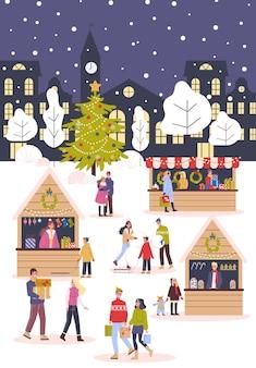 Ilustracja jarmark bożonarodzeniowy. świąteczne potrawy i świąteczne dekoracje. duża choinka z tradycyjną dekoracją. ludzie kupujący prezenty świąteczne, bawią się na świeżym powietrzu.