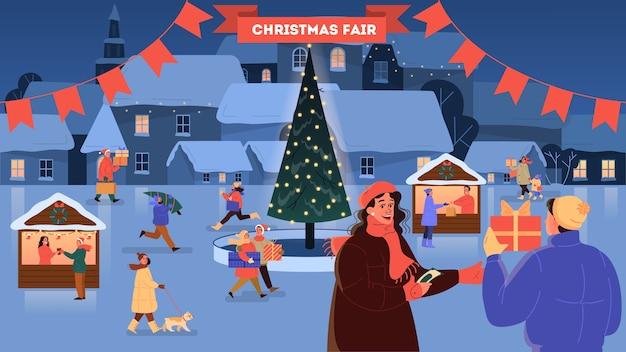 Ilustracja jarmark bożonarodzeniowy. świąteczne potrawy i świąteczne dekoracje. duża choinka z tradycyjną dekoracją. osoby kupujące prezenty świąteczne, bawiące się na świeżym powietrzu