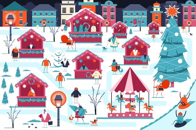Ilustracja jarmark bożonarodzeniowy.