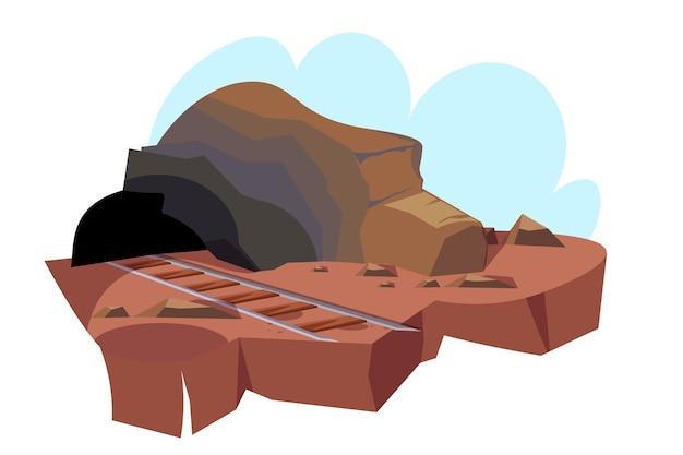 Ilustracja jaskini górniczej, wejście do kopalni z drogą kolejową do tunelu.