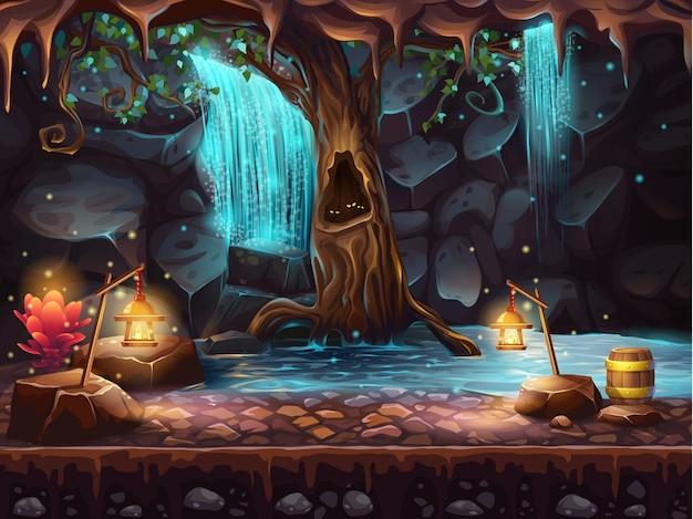 Ilustracja jaskini z wodospadem i magicznym drzewem oraz beczką złota