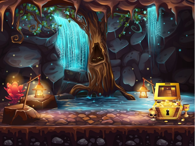 Ilustracja jaskinia fantasy z wodospadem, drzewem i skrzynią skarbów