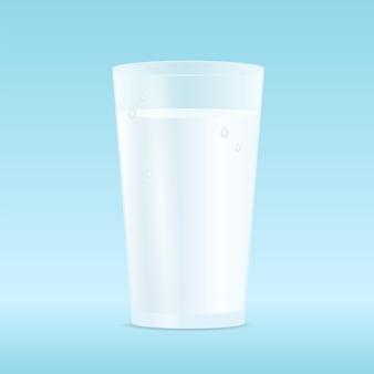Ilustracja: jedną szklankę mleka na białym tle na niebieskim tle