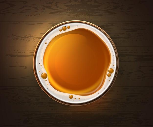 Ilustracja jednej szklanki lekkiego piwa na drewnianym stole, widok z góry