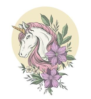 Ilustracja jednorożca z kwiatami w kolorze sonf do nadruków na koszulkach