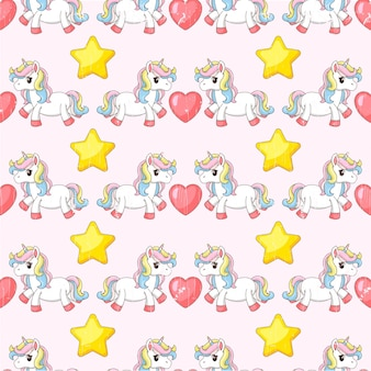 Ilustracja jednorożca z sercami i gwiazdami.