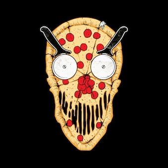Ilustracja jedzenie czaszki pizzy