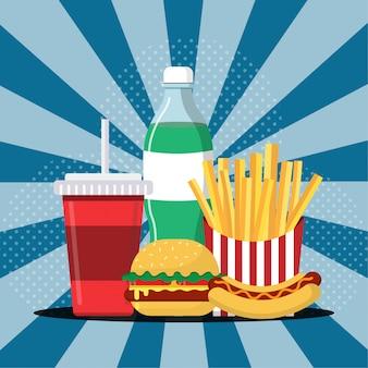 Ilustracja jedzenie i picie, hamburguer, frytki, hotdog i napój