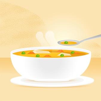 Ilustracja jedzenie komfort z zupą