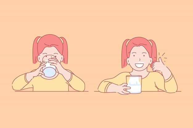 Ilustracja jedzenie, zdrowie, dzieciństwo, dieta.