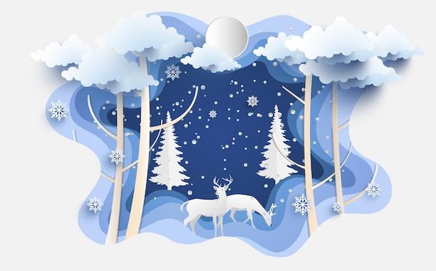 Ilustracja jelenia jest zimą. lasy sosnowe z wzorami papierowymi i artystycznymi