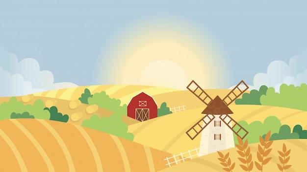 Ilustracja jesień krajobraz rolniczy. kreskówka żółte pole pszenicy pole z wiatrakiem i domem rolników lub stodołą rustykalnej wioski, panoramiczny jesienny krajobraz przyrody tło