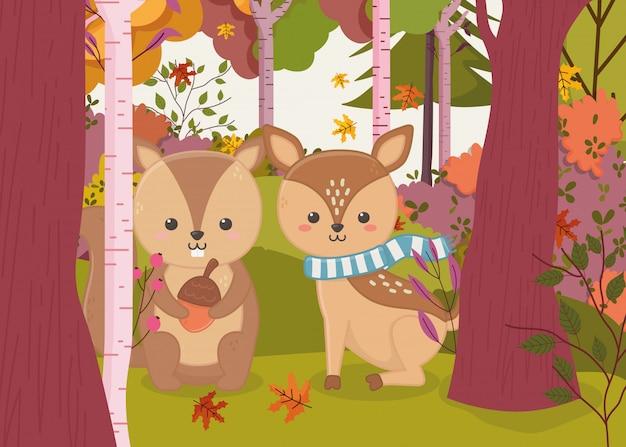 Ilustracja jesień ładny jelenia i wiewiórki z żołądź