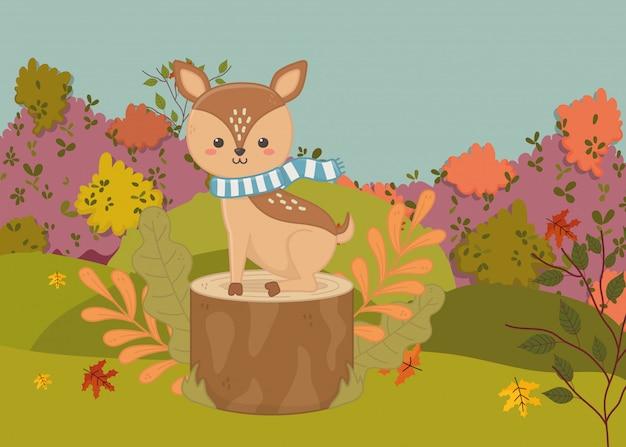 Ilustracja jesień ładny jelenia z szalikiem, siedząc na pniu