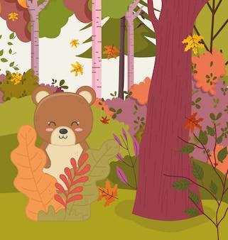 Ilustracja jesień słodki miś w liście drzew leśnych