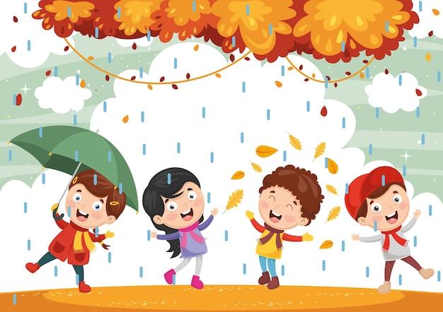 Ilustracja Jesieni Dzieci | Premium Wektor