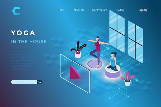 Ilustracja joga w domu za pomocą aplikacji streaming w izometrycznym stylu 3d