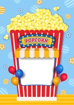 Ilustracja kabiny popcorn ozdobiona markizą i balonami.