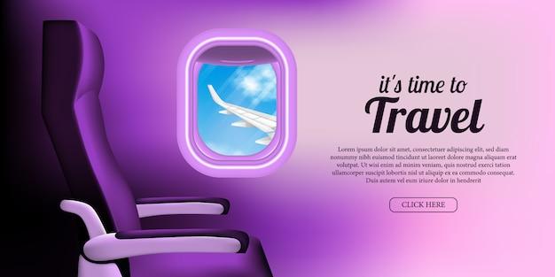 Ilustracja kabiny samolotu z oknem siedzenia i iluminatora z widokiem na błękitne niebo i skrzydła samolotu.