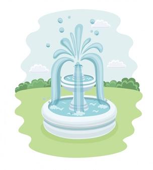 Ilustracja kaczek i fontanny