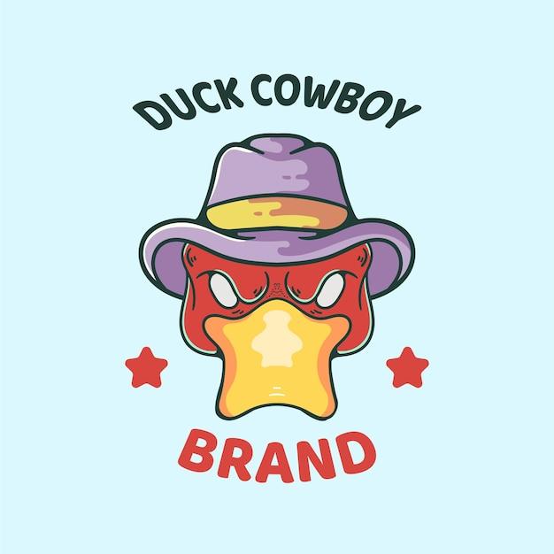 Ilustracja kaczka z kapeluszem kowbojskim
