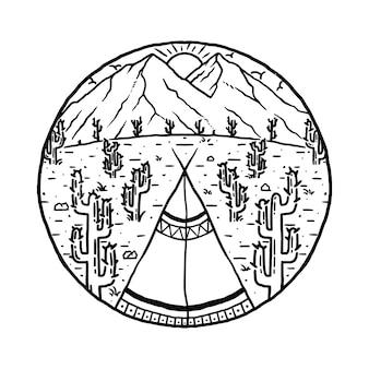 Ilustracja kaktus pustyni obozu indian