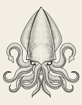 Ilustracja kalmary w stylu vintage grawerowania