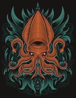 Ilustracja kalmary ze stylem ornamentu grawerowania