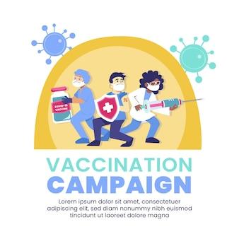 Ilustracja kampanii szczepień ekologicznych płaskich