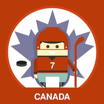 Ilustracja kanadyjska w mundurze hokejowym