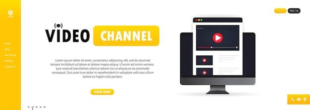 Ilustracja kanału wideo. oglądanie vloga, webinarów, wykładu, lekcji lub szkolenia online na komputerze. wektor na na białym tle. eps 10