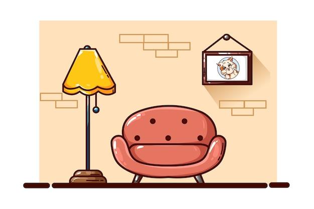Ilustracja kanapa i lampa