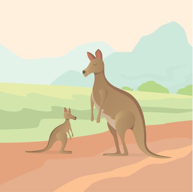 Ilustracja kangura w płaskiej konstrukcji